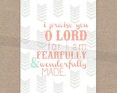 """INSTANT DOWNLOAD - Schrift-Print für die Wand - Psalm 139 """"In angstvoll & wunderbar Made"""" Pfeil 8 x 10 Bibel Vers Wand Kunst Dekor"""