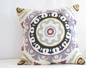 Decorative Pillows, Throw Pillows, Decorative Purple Suzani Pillow, Home Decor,Purple Black Pillow, Bed Pillows, lavender pillows