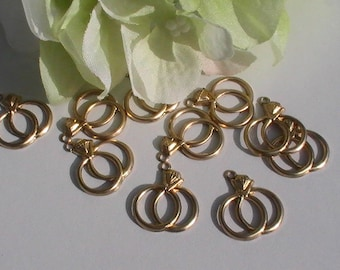Raw Brass Wedding Rings Charm Rings Charms Supplies Commercial Findings Unplated Brass Wedding Favors Gift Tags Scrapbooking (12pcs)