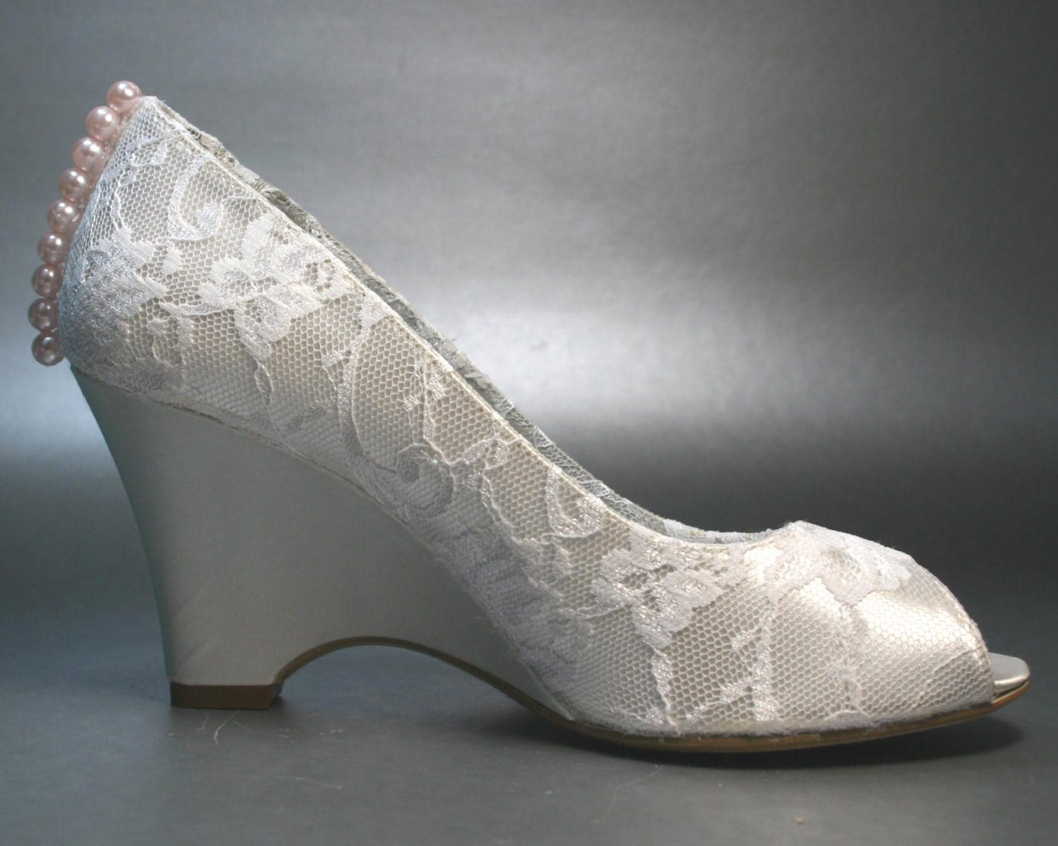 Wedding Shoes Ivory Wedges With Ivory Lace Overlay And Pink