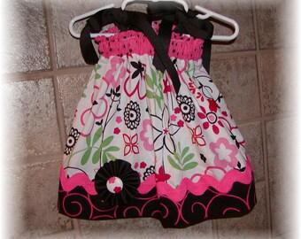 Girls Dress  Pillowcase style..Flowers N Scrolls....Infant toddler Custom. sizes 0-6, 6-12, 12-18, 18-24 months, 2T, 3T