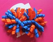 Hair Bow Set - Orange and Royal Blue Korkers