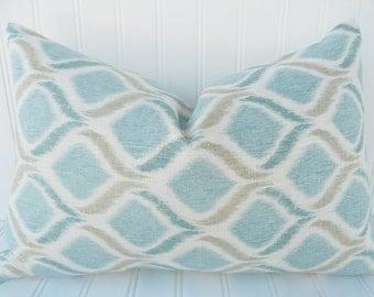 BLUE Pillow. Blue Tan Ikat Pillow. Accent Pillow. Throw Pillow. 12 x 18 inch Lumbar Pillow - Linen Pillow