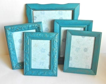 Turquoise Shabby Chic Frame Set, Collection of 5 Frames Made to Order... Upcycled Frames