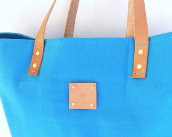 Canvas Tote... SPECIALIZED LABEL...TURQUOISE tote bag