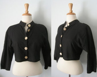 Vintage 80s black cropped jacket with gold buttons - military collar - on-trend and fabulous - size 12