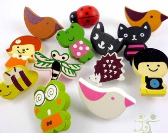 100pcs Lots mixed wood bird frog bee ladybug girl boy flatback/Buttons scarpbook embellishment craft by random