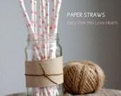 25 Baby Pink Mini Love Hearts Paper Straws -  Standard 7.75'' / 19.68cm