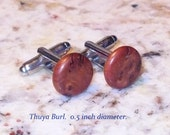 Unique Hand Crafted Exotic Wood Cuff Links.  Many choices. Customizable.