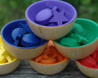 Montessori Inspired Sorting Bowls Circles and Stars Wooden Rainbow Sensory Toy Gift Set