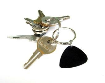 Guitar Pick Keychain in Black Music Gift for Guys Men