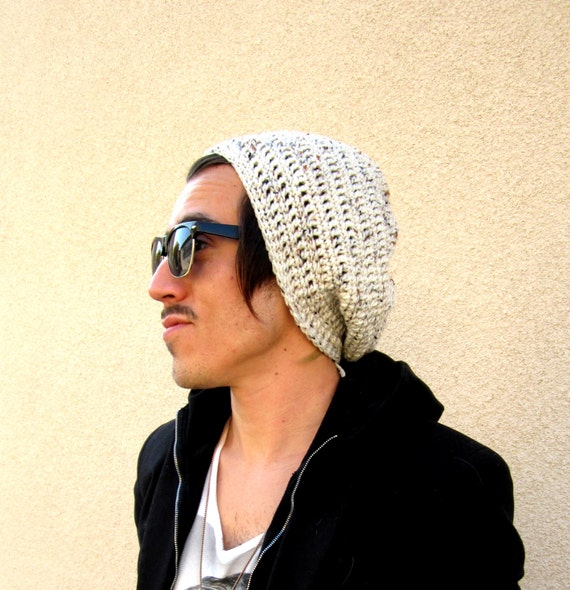 Men's Oatmeal Slouchy Hipster Crochet Hat Slouch Beenie Beanie Handmade Gifts For Guys Under 50 Dollars