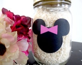 Minnie Mouse Chalkboard Vinyl Labels -set of 25 labels - Birthday Party, Playroom, Mickey Mouse, Favor - FREE CHALK MARKER