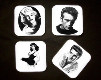 Four Drink Coasters - 1950s Classic Hollywood Icons - Original Graphite Portraits