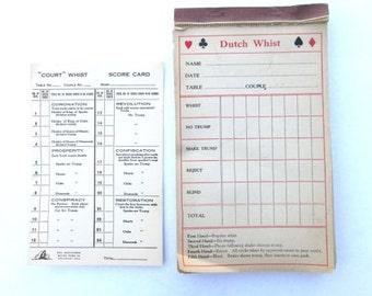 Vintage Game Score Card Dutch Whist Paper Ephemera 1934 Bridge Parlor Games Tally Scorecard