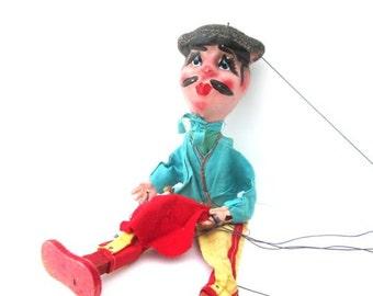 Vintage Wood Puppet Toys Matador Marionette Doll Stringed Puppets