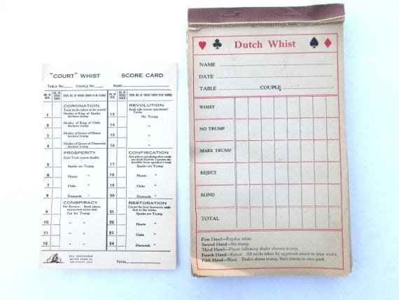 Vintage Game Score Card Dutch Whist Paper Ephemera 1934 Bridge