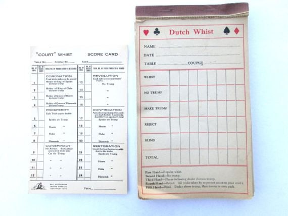 Canasta Score Sheet Template Sarahepps Vintage Game Score Card Dutch Whist  Paper Ephemera Bridge Maxwellsz