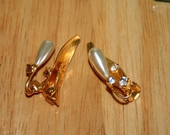 Gold, Pearl and Diamond Clip-On Earrings