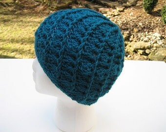 Crocheted Womans Hat - Spiral Patterned - Teal - Beanie, Cloche