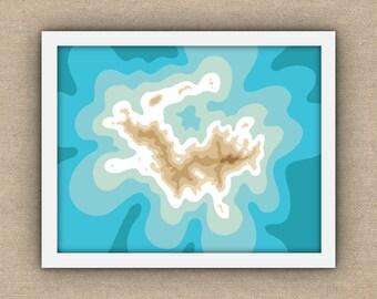 "St Barts / St Barths / St Barthelemy Map Art Print, Aqua Sand / 11"" x 14"" Wall Art / Coastal Decor"