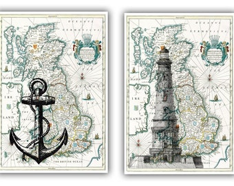 Lighthouse and anchor Print on antique map of England, Map Wall Art, Set of 2, Matte Prints, nautical prints