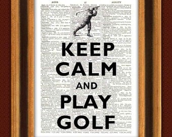 Keep calm and play golf Print Vitange illustration, Dictionary art Print book page, fathers day gift