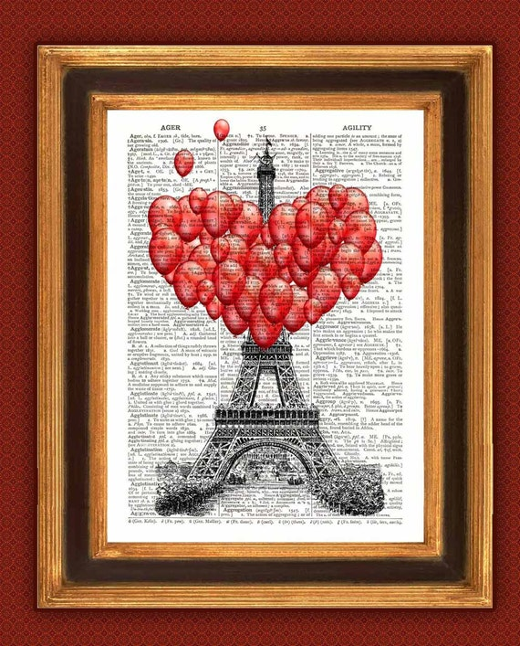 Love in Paris at Eiffel Tower Print, Dictionary art prints Upcycled Book page , Valentine gift, French love, Paris Eiffel Wall art decor