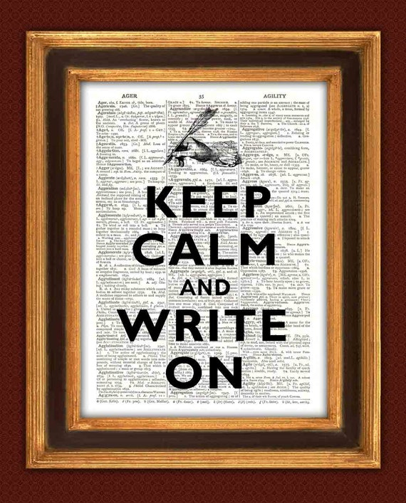 Keep calm and write on Print, Dictionary print Handwriting illustration Book page Keep calm art wall hangings, home decor