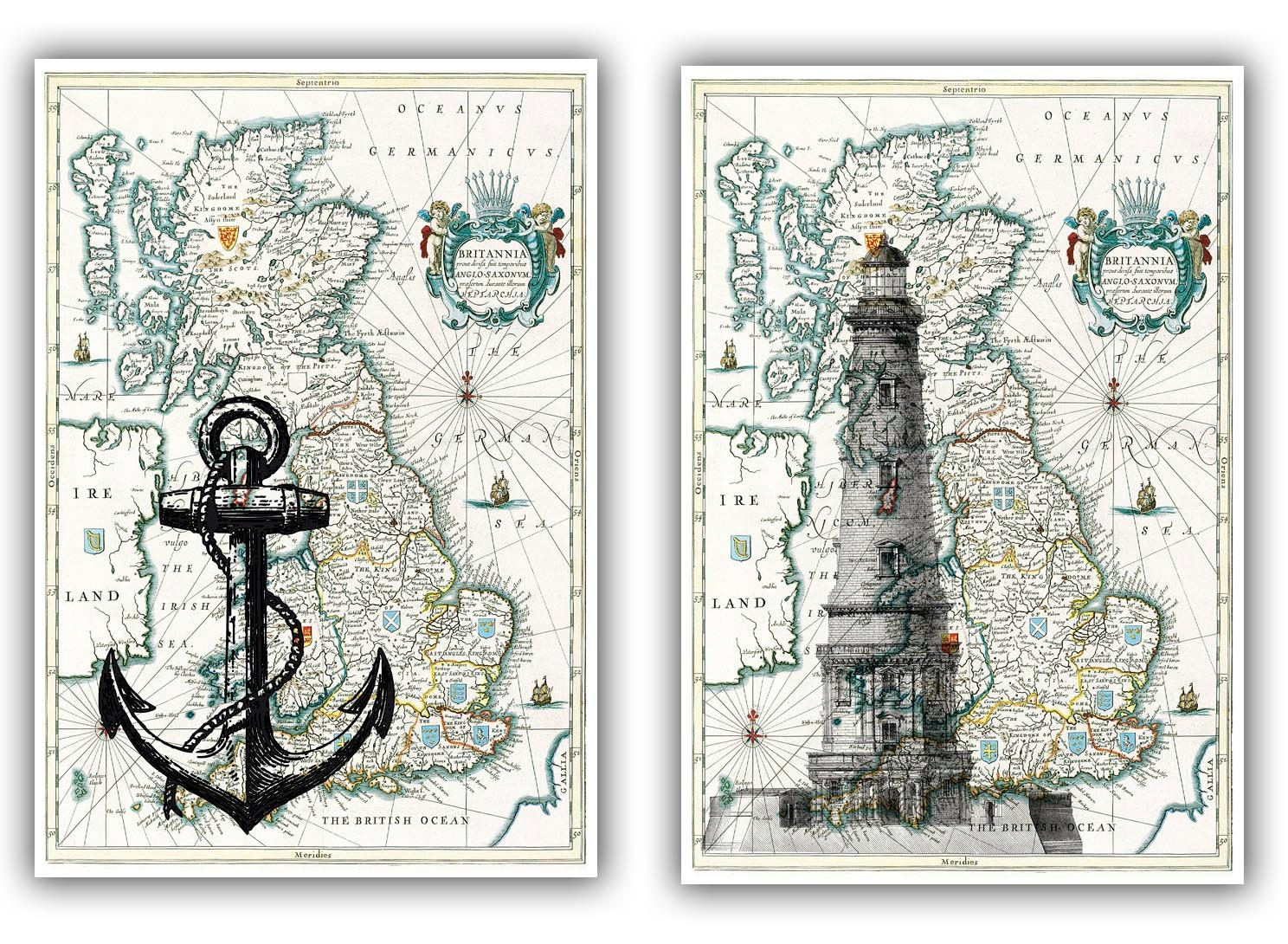 Lighthouse And Anchor Print On Antique Map Of England Map