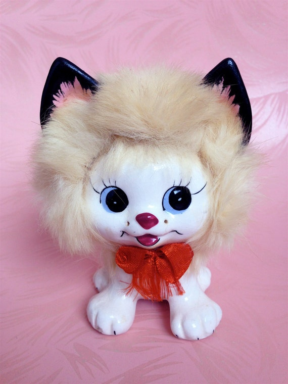 Vintage Kitschy Cute Kitty Cat with Fur and a Little Red Bow Ucagco Japan