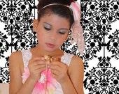 "Handmade White, pink  satin tutu dress with a headband ""Julia""  Flower girl dress, pageant, wedding, photograpy prop"