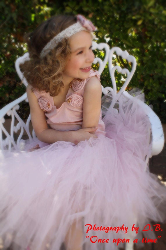 Pink rosetta--  Taffetta and tulle flower girl dress for weddings,pageant tutu dress with slip and a coordinating headband