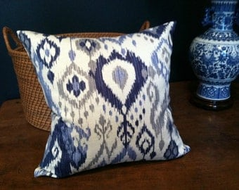 PAIR of Swavelle/Mill Creek Gunnison Geyser ikat pillow covers / Gunnison Slub Ivory / Gunnison Pueblo / 18x18 or 20x20
