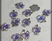 Lavender pansy enameled charms (x4)