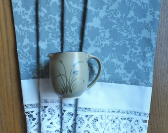 Gray Roses and Battenburg Lace Trimmed Dish Towels ~ Set of 2