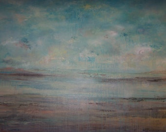Large Original Contemporary Modern Abstract Seascape Art by Sheri 48x60x2/121.9cmx152.4cmx5.1cm-RESERVED-