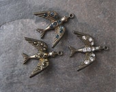 Smaller Brass Bird Pendant w/ Rhinestones 23mm New Hand Oxidized (1) Crystal Montana Blue Dorado or Burgundy