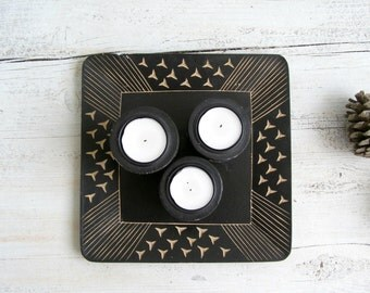 Black Wood Candle Holders, Retro modern hand carved Candlesticks Display Plate, Geometric, Valentines Day , Environmental, party Decor
