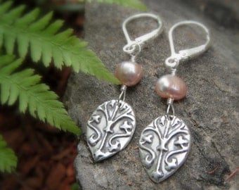 Medieval Pearl Earrings-Handcrafted with Recycled Fine Silver