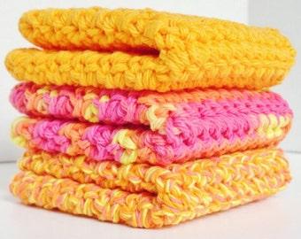 Crocheted Cotton Washcloths Dishcloths Gift under 20 dollars Set of 3 in Tangerine Trio