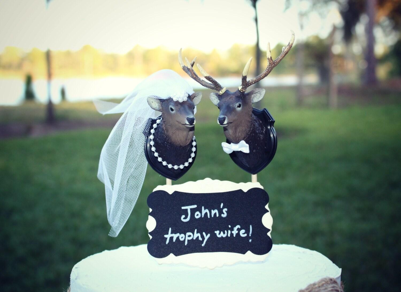 Buck and doe Bride and groom deer wedding cake by