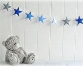 Star garland - felt star banner - You can pick your colors - Blue, gray and white - Nursery decor - birthday decor - party decor - LullabyMobiles