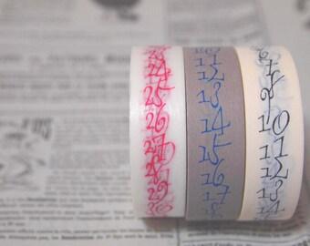 NEW  masking tape 3rolls set (calligraphy number 15mm) new item sale