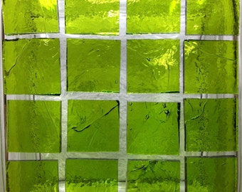 """1"""" WARBLED LIME COOLADA Stained Glass Mosaic Supply"""