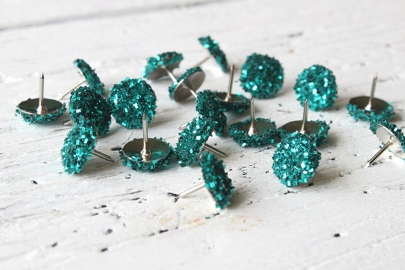 Push Pins Teal Turquoise Glitter Thumb Tacks Turquoise Office Supplies Teal Glitter Desk Accessories - Set of 20