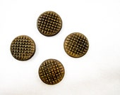 vintage buttons, vintage supplies, 4 vintage brown buttons