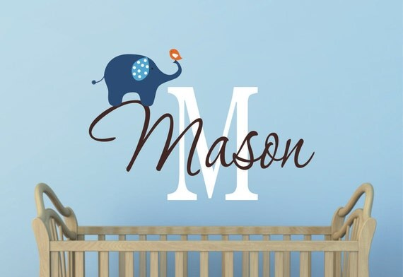 Elephant Wall Decal Nursery Wall Decal Boys Decal With - Baby boy nursery wall decals