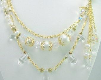 Bridal Statement Necklace, Multi Strand Crystal &  Freshwater Pearl Necklace, Unique, OOAK, Artisan Design