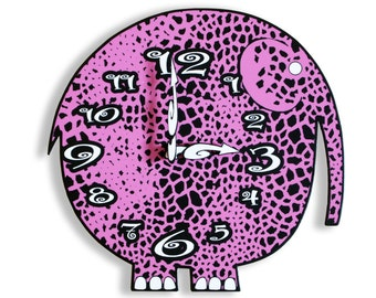 Pink Elephant Wall Clock Animal